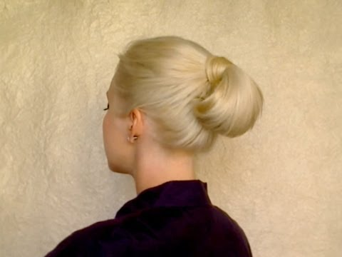 Quick easy hairstyle for long hair for work, office, job interview Formal rolled bun updo tutorial