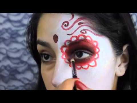 Sugar Skull Burnt Face Halloween Makeup