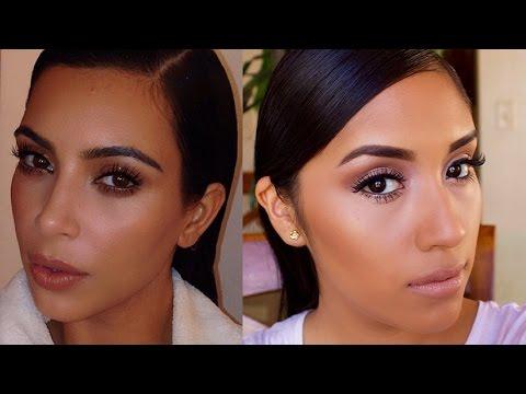 Kim Kardashian Natural/ Everyday Dewy Makeup Tutorial| Neutral Eyes + Nude Lips