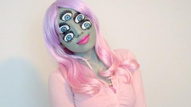 Monsters Inc Inspired Make-up (Halloween 2013)