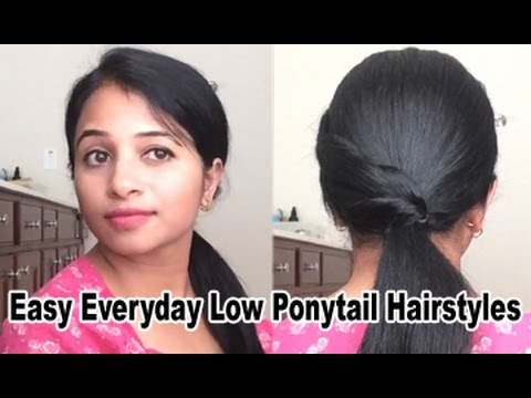 Back to School || Easy Everyday Low Ponytail Hairstyles (Indian Hair)