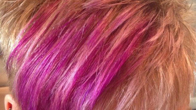 PIXIE Style Haircut With Blonde Weaved  Foils and Purple Slices