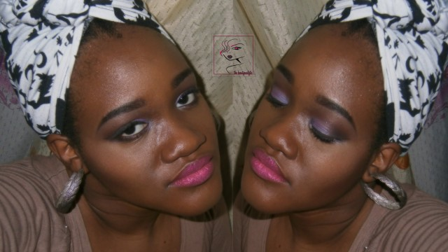 Wild Purple Orchid and Glitter Lips Makeup Look
